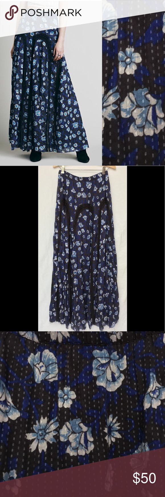 Free People FP ONE Zoe Maxi Skirt Crochet Floral Free People FP ONE Zoe Maxi Skirt Blue Black Crochet Floral Small Gauzy cotton maxi with a boho floral print and lace inserts. Features a mini underskirt lining and a stretchy elastic waistband. Frayed unfinished hem.  *FP One is an exclusive collection made with love from India. *100% Cotton  *Hand Wash Cold  *Import  Measurements: Waist: 27 1/2 in  Length: 42 7/8 in  New with tags from Bloomingdales. Mini skirt liner has a large hole as…
