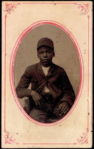 1800s-TINTYPE-PHOTOGRAPH-AFRICAN-AMERICAN-BOY-in-WORK-CLOTHES-BLACK-INTEREST