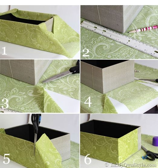DIY fabric covered storage boxes. I have a few shoe boxes that would look awesome if I took the time to do this. :)
