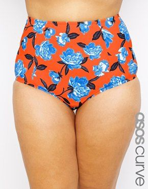Enlarge ASOS CURVE High Waist Bikini Bottom in Orange & Blue Floral