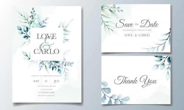 Elegant Wedding Invitation Cards Template With Watercolor Leaves Elegant Wedding Invitation Card Floral Wedding Invitation Card Wedding Invitation Cards