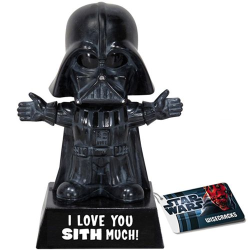 """I Love You SITH Much!  Darth Vader is full of love… for the Empire. But seriously, deep down in the mechanized suit of his, there was a small little heart that just needed to be loved.So maybe you don't show your emotions all the time and you have that dark crusty shell around you? Our I Love You Sith Much Darth Vader Bobble-Head is a perfect way to say, """"I love you"""" to your Jedi.: Darth Vader, I Love You, Starwar, Bobblehead, Stars War, Gifts, Funnies, Bobble Head, Sith"""
