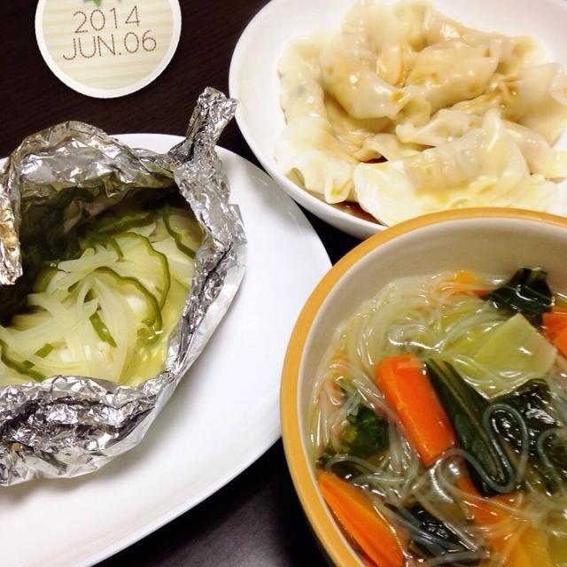 26.06.06 - 6件のもぐもぐ - 鱈のホイル蒸し☆水餃子☆野菜春雨スープ by mikaogihar7Yh