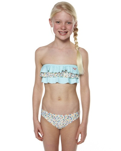 SURFSTITCH - KIDS - GIRLS CLOTHING - SWIMWEAR - ROXY KIDS SUMMER DAYS BANDEAU BIKINI - BLUE RADIANCE