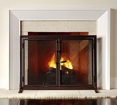 Industrial Fireplace Open Door Screen #potterybarn