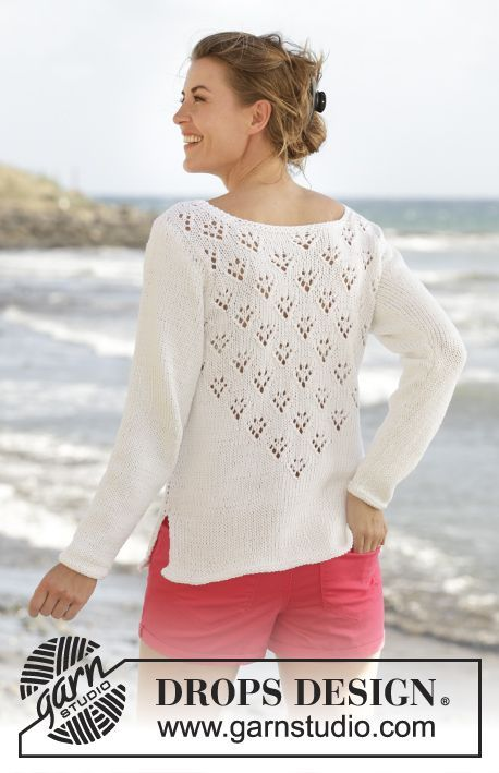 "Knitted DROPS jumper with V-neck, lace pattern and vents in the sides in ""Paris"". Size: S - XXXL. Free pattern by DROPS Design."