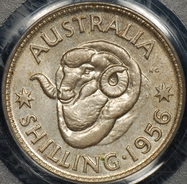 PCGS MS63 Australia 1956 Shilling 1s Uncirculated - The Purple Penny