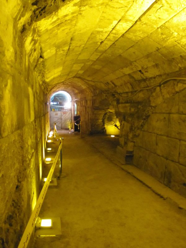 A vaulted passageway entered from the Western Wall Prayer Plaza. It leads under the Street of the Chain to the tunnels along the northern portion of the Western Wall.