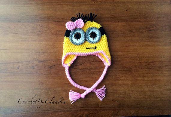 Crochet Two Eyed Minion Inspired Beanie With Pink Bow/Girl Minion Beanie/ Minion Beanie/ Made to Order