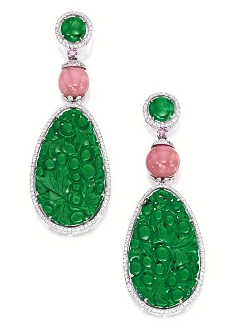 PAIR OF CARVED JADEITE PLAQUE, CONCH PEARL, PINK DIAMOND AND DIAMOND PENDENT EARRINGS
