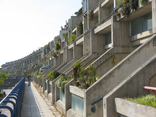 Alexandra Road - Housing Estate Showing terraces set back on every level to create boundaries/privacy between them