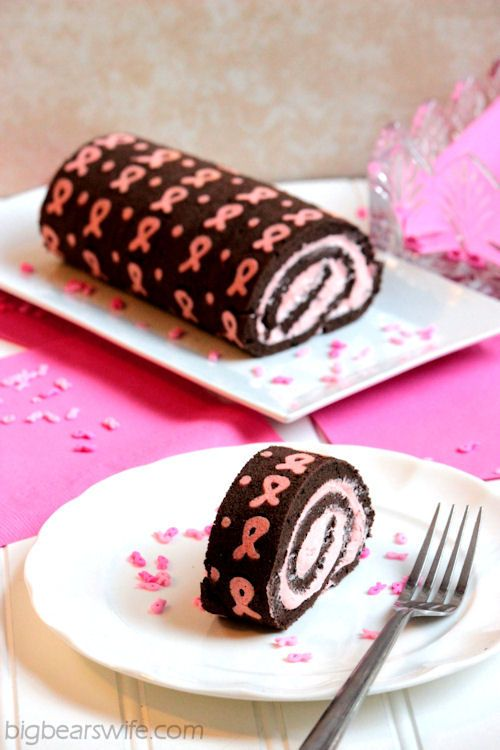 Chocolate Pink Ribbon Swiss Roll Cake   BigBearsWife.com