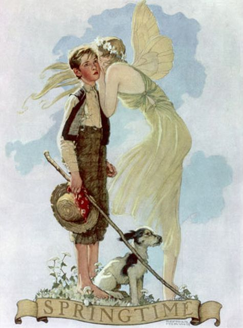 "Norman Rockwell's Springtime. ""You can't forget the epitome of the Americana spring image. I always wondered what she was whispering to him to illicit such a wistful look."" (Whatever it is, it does not look like a frivolous secret.)"