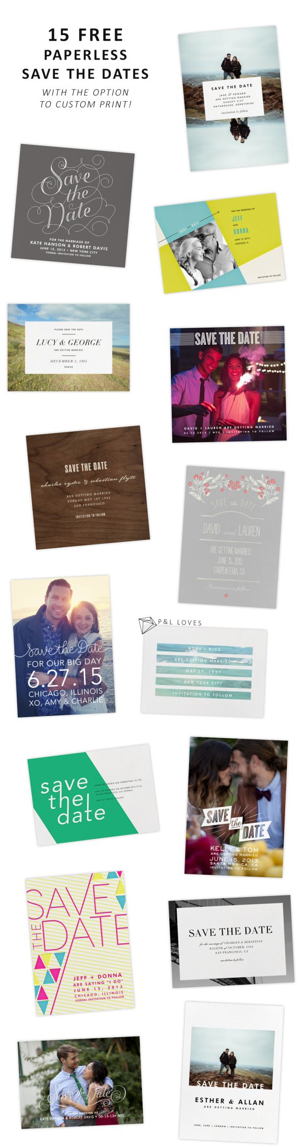 15 FREE Wedding Save the Dates from Paperless Post #invitation paperandlace.com                                                                                                                                                                                 More