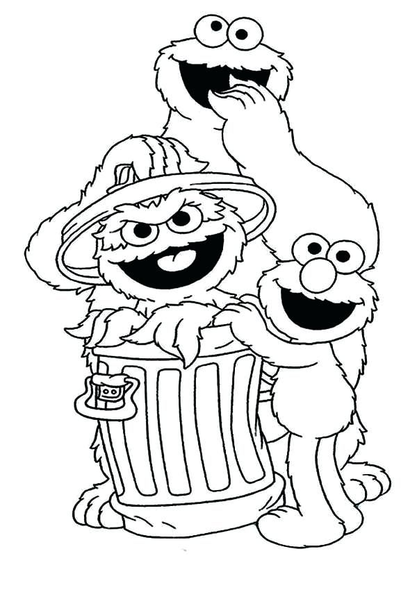 Elmo Coloring Pages Cookie And With In Garbage Can In Sesame