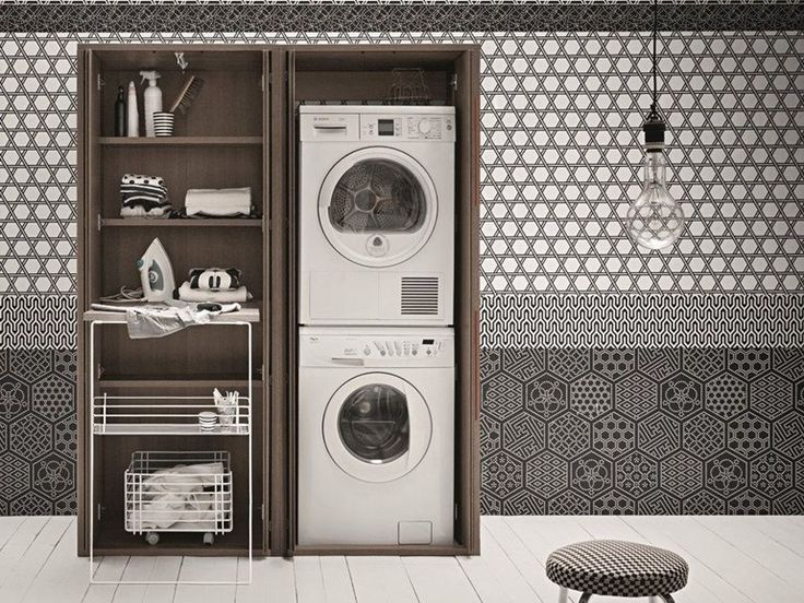 Tall elm laundry room cabinet for washing machine ACQUA E SAPONE Acqua e Sapone Collection by Birex | design Monica from archi products