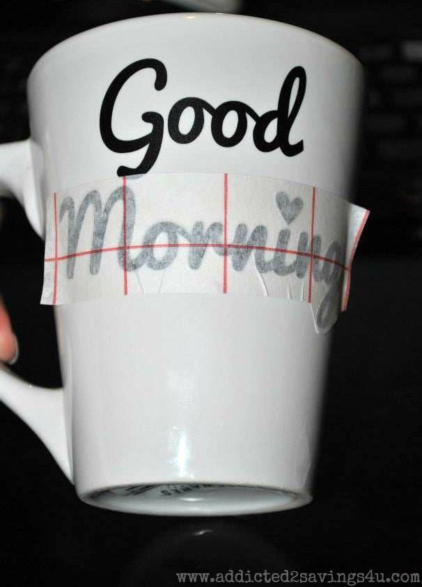 DIY Good Morning Mugs from Dollar Tree - Addicted 2 Savings 4 U
