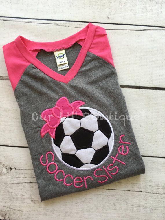 Soccer Shirt Raglan Soccer Bow Shirt by OurLilBowtique on Etsy
