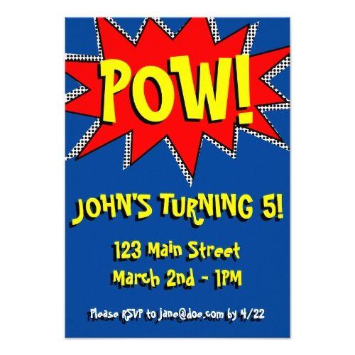 Superhero Birthday Invitations Superhero Comic Book Themed Invitation Template