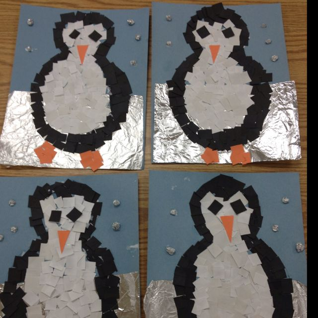 Mosaic Penguins art project