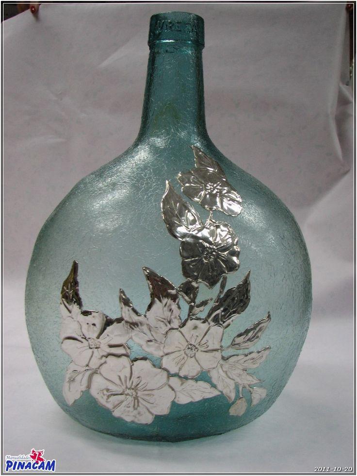 Jarrafa decorada en nuestras clases              #manualidades #pinacam #estaño #aluminio  www.manualidadespinacam.com