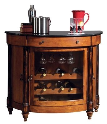 merlot valley wine cabinet with a distressed vintage umber finish and worn black finished posts