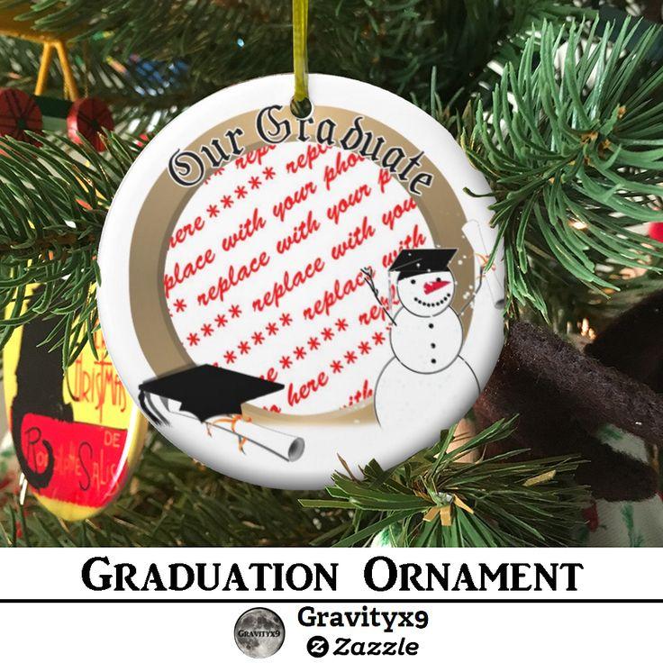 Graduation Snowman Photo Ceramic Ornament by #Just4grad ~ #Gravityx9 Designs at Zazzle  - #graduationornament #snowman #grad #graduation #addaphoto #frames4you