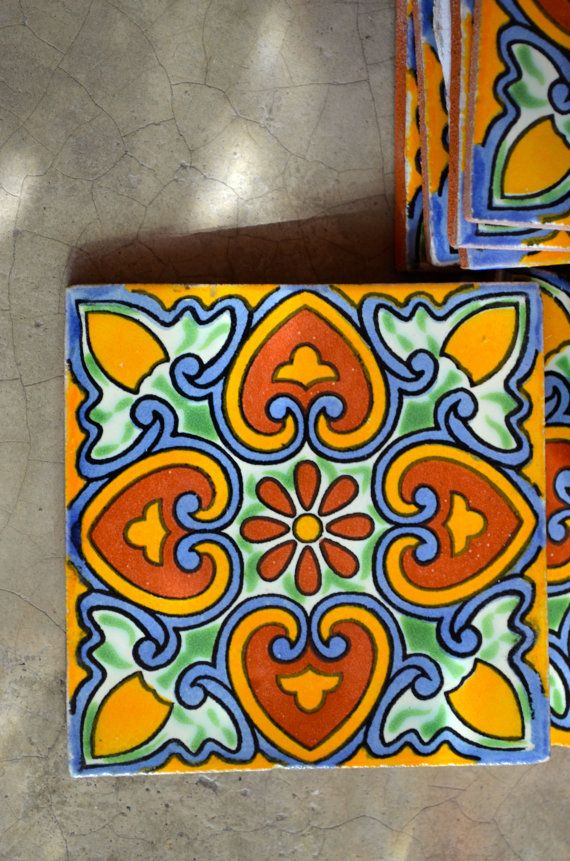 90 Mexican Talavera Tiles. Hand made-Hand painted 4 X