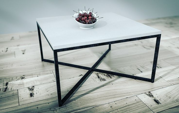 Table with concrete top and steel legs.