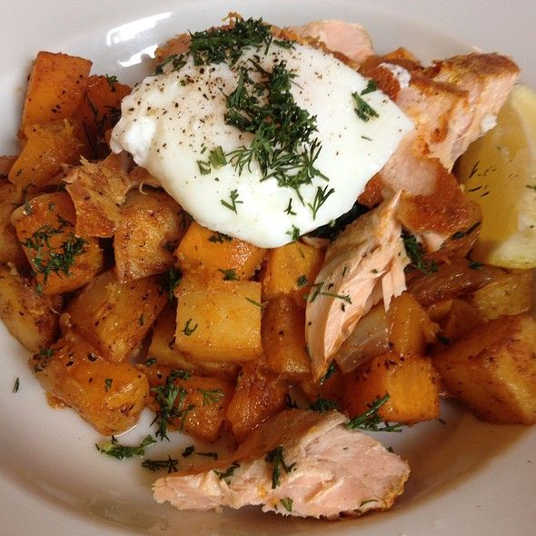 Poached Egg With Smoked Trout And Hash @ With the Grain