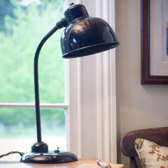 Newark #Desk #Lamp in Gloss #Black handmade by Jim Lawrence . This gorgeous vintage lamp also boasts an integrated LED light with 50,000 hours - meaning you'll never need to change a light bulb again!