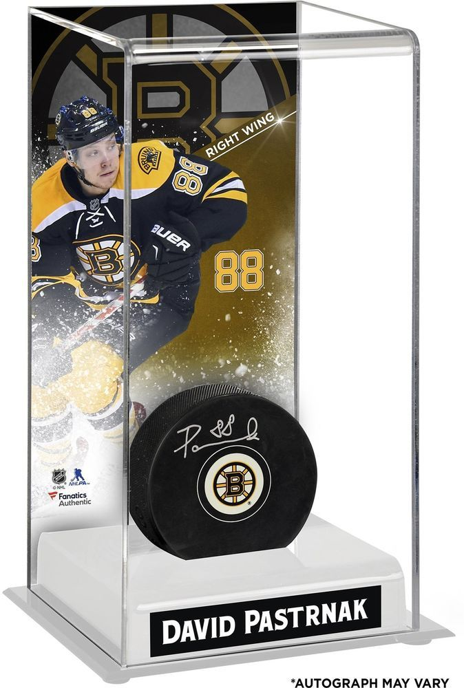 d684a309b1b David Pastrnak Bruins Autographed Puck w  Deluxe Tall Hockey Case - Fanatics