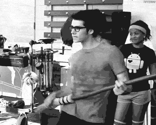 Dylan O'Brien dancing on the set of The Internship GIF So adorable that I had to include it here! And the fact that it looks like a Harry Potter broom!