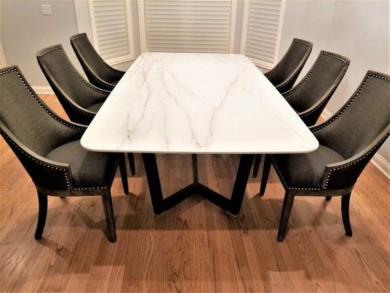 Shalabyhomedesign Style Dining Table Porcelain Top With Metal