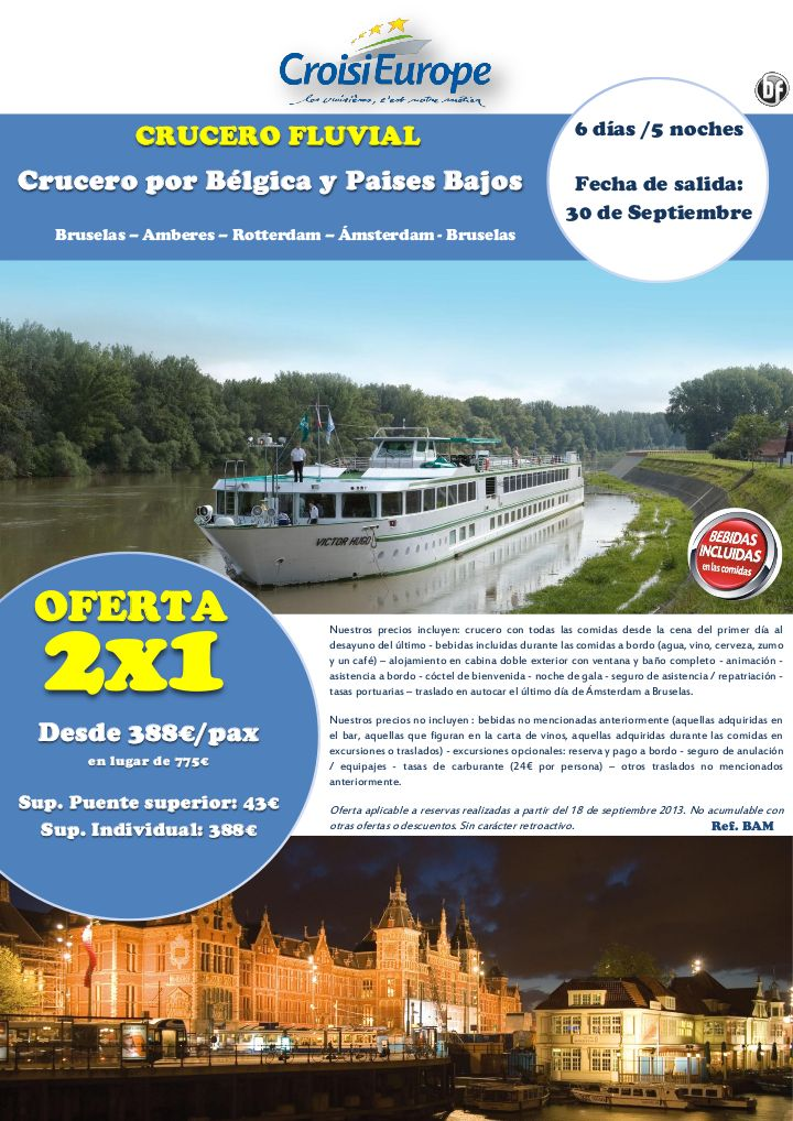 OFERTA 2 X 1: Crucero por Bélgica y Países Bajos - http://zocotours.com/oferta-2-x-1-crucero-por-belgica-y-paises-bajos/