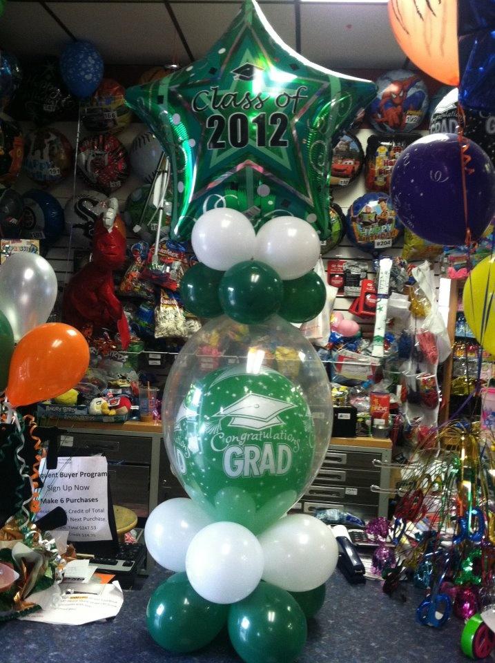 11 best diy graduation table decorations images on for Balloon arrangement ideas
