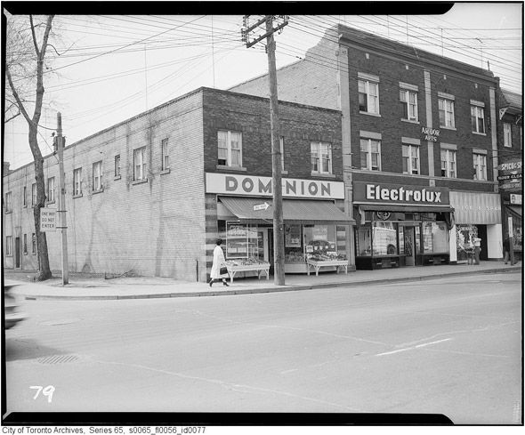 Dominion grocery store, Avenue Road (south of St. Clair), Toronto. #Canada #vintage #supermarket #shopping