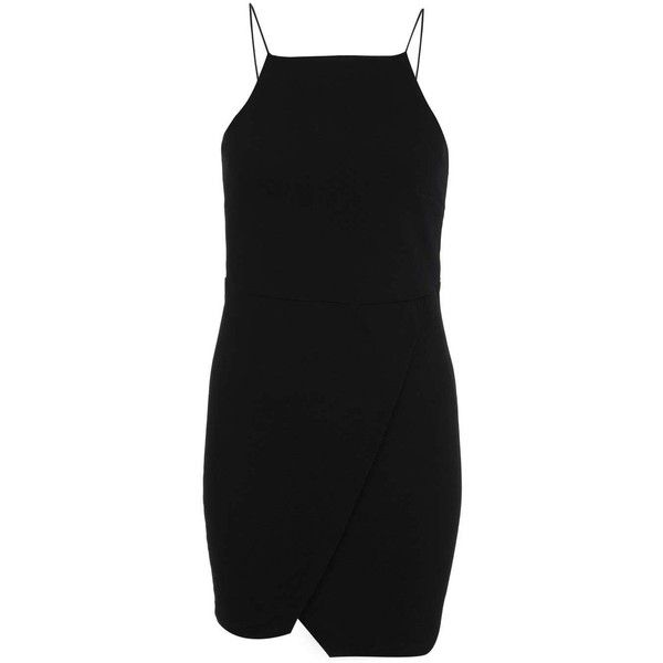 Miss Selfridge Petites Wrap Bodycon Dress ($21) ❤ liked on Polyvore featuring dresses, black, petite, wrap skirt dress, petite bodycon dresses, bodycon dress, miss selfridge and wrap dress