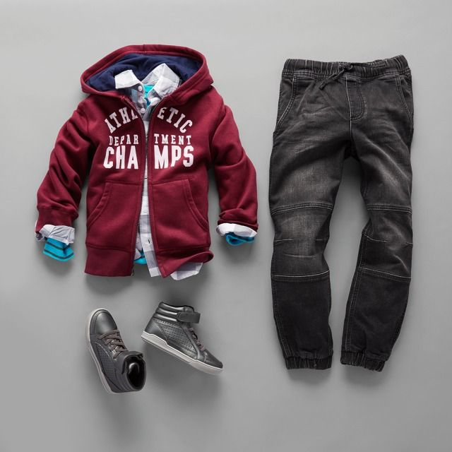 Boys' fashion | Kids' clothes | Active hoodie | Plaid button-down shirt | Striped top | Denim joggers | Hi-top sneakers | Back-to-school | The Children's Place