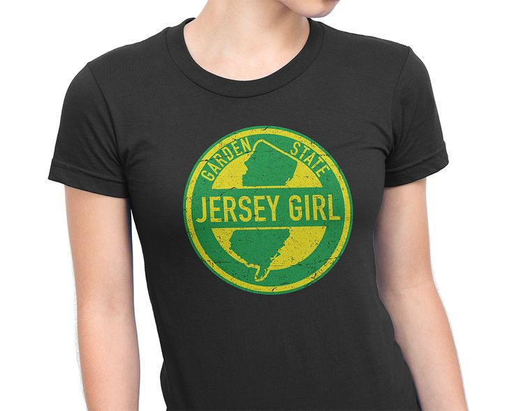 """Jersey Girls rule the world. Stylish tee with the words """"Jersey Girl"""" resembling a distressed Garden State Parkway sign."""