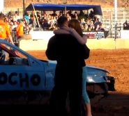 According to YouTuber Walter Webb, this military homecoming surprise took place at the Washington County Fair demolition derby.
