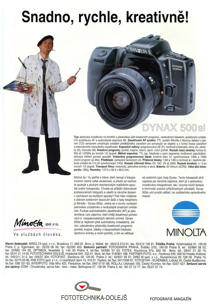 Časopis FOTOGRAFIE-MAGAZÍN cca 1994/95,  Fototechnika Dolejš - Smluvní partner MINOLTA Zadavatel inzerce: Minolta s.r.o. Formát: A4