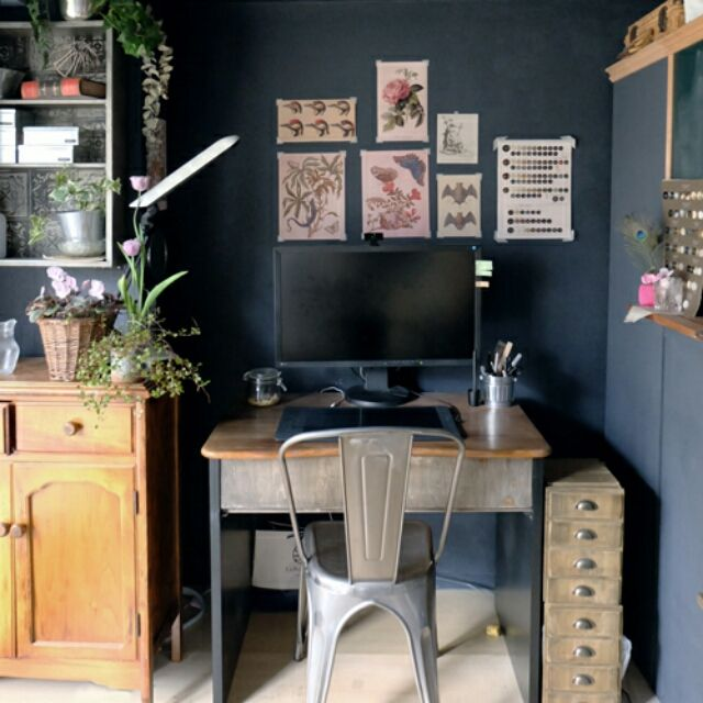 mituneさんの、観葉植物,黒板,ワークスペース,机,のお部屋写真