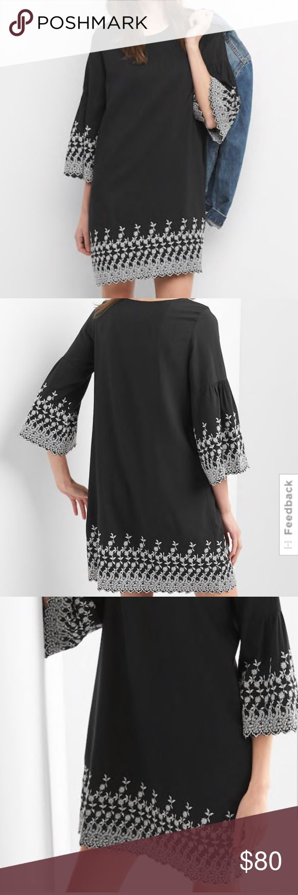 NWT Gap embroidered bell-sleeve dress NWT Gap embroidered bell-sleeve dress, size: 2 petite, color: true black, with white embroidery. 3/4-length sleeves, scalloped hem and sleeves.  Beautiful embroidered detail. 60% rayon, 40% viscose, machine washable. GAP Dresses