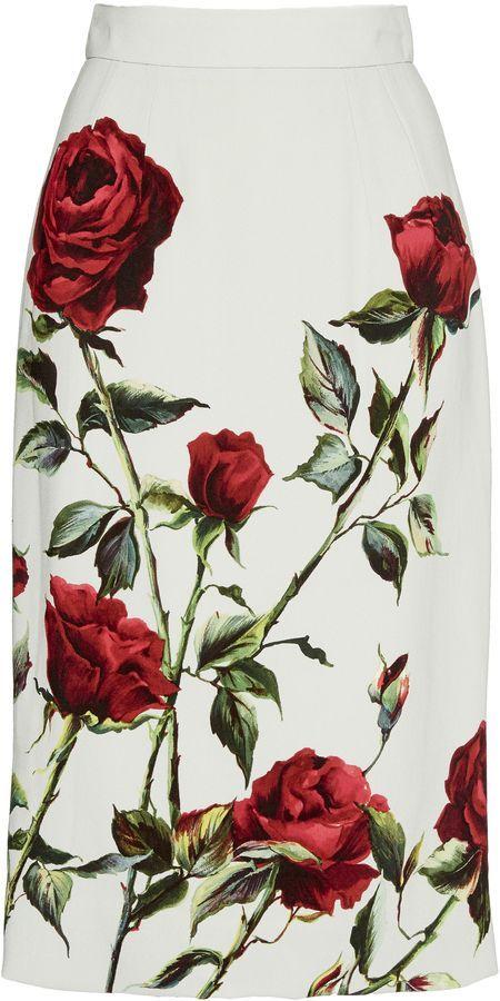 Rose Printed Pencil Skirt by Dolce & Gabbana - Available on Moda Operandi https://www.modaoperandi.com/dolce-gabbana-pf15/gonna-rose-printed-pencil-skirt