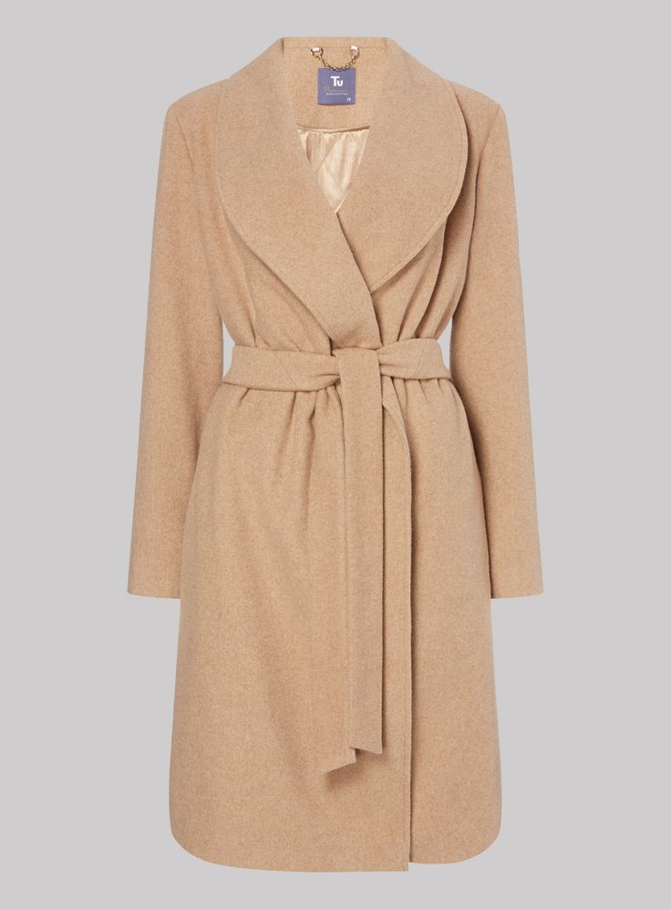 Rich in wool, this camel wrap coat is the perfect piece to layer over your…