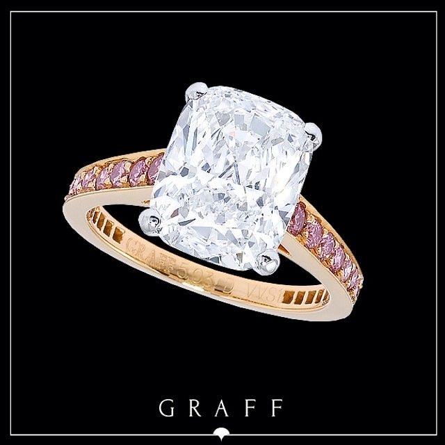 """Signature Style"" 5.03ct Cushion Cut Diamond with Pink Pavé Shank.    #graffdiamonds #graff #bridal #wedding #engagement #ring #pinkdiamonds"