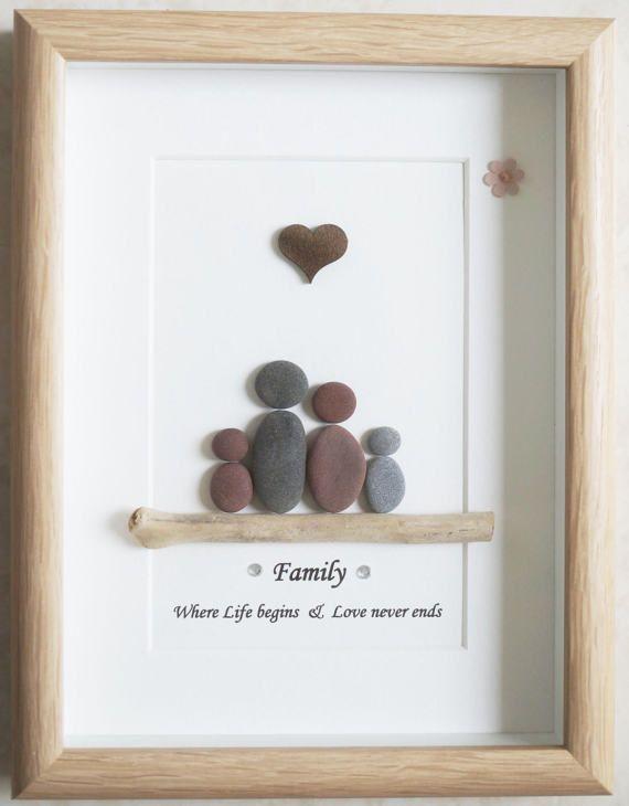 Pebble Art framed Picture Family