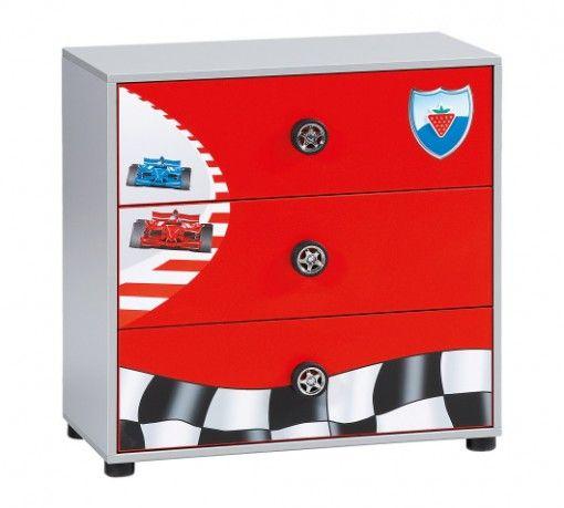 Racer 3 fiókos gyerek komód #gyerekbútor #bútor #desing #ifjúságibútor #cilekmagyarország #dekoráció #lakberendezés #termék #autóságy #forma1 #ágy #gyerekágy #komód