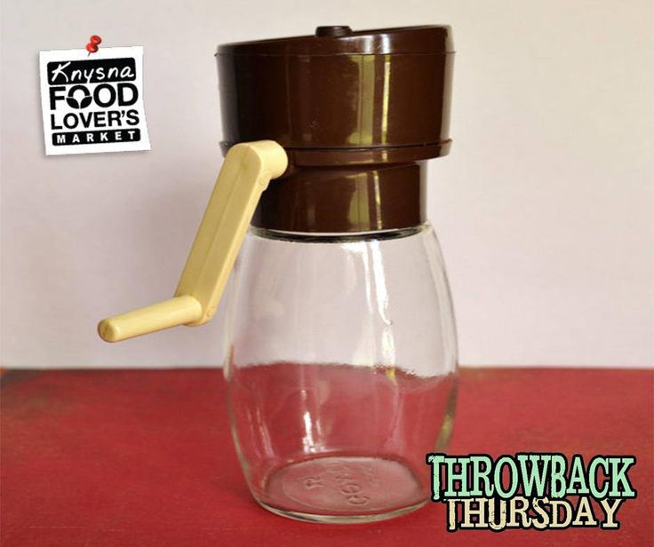 #ThrowBackThursday - Vintage Gemco Hand Turn Nut Grinder with brown and ivory lid and handle and clear glass base. Marked on bottom: Gemco USA 15. #Foodloversmarket #Knysna